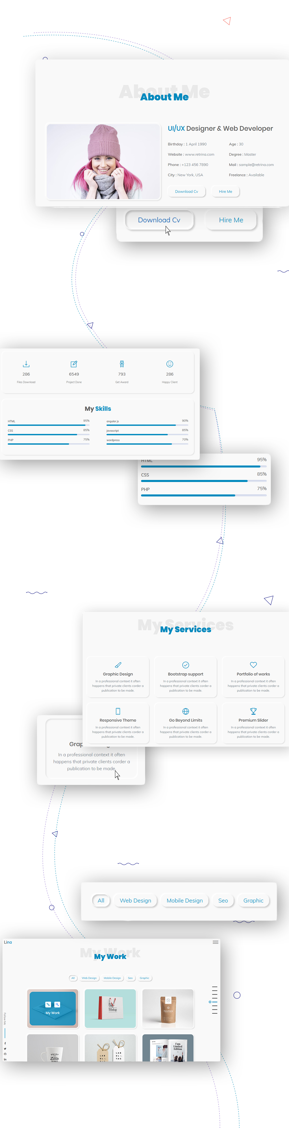 Lina neomorphism bootstrap 4 personal template