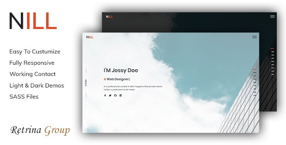 Nill - Bootstrap 4 one page personal portfolio template